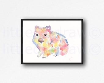 Rainbow Wombat Print Watercolor Painting Animal Wall Art Wombat Illustration Animal Art Wall Decor Wombat Print Wombat Lover Gift Unframed