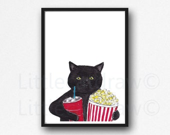 Cat Print Black Cat Holding Popcorn and Coke Watercolor Painting Print Cat Lover Gift Cat Wall Decor Movie Lover Film Fan TV Lounge Room