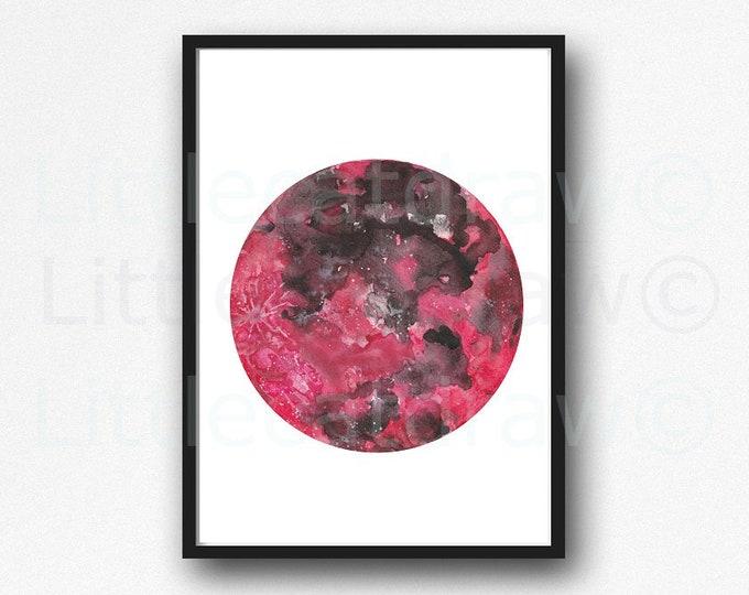 Moon Print Dark Red Moon Phase Watercolor Painting Print Wall Decor Bedroom Decor Moon Wall Art Space Print Moon Phase Moon Decor Moon Art
