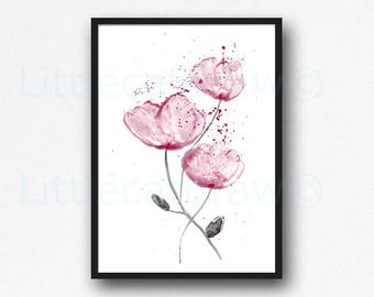 Peony Art Print Watercolor Painting Print Floral Decor Living Room Decor Flower Wall Art Home Decor Gift For Her
