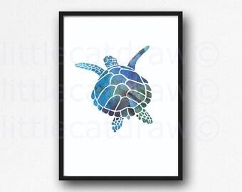 Sea Turtle Print Wall Art Nautical Print Swimming Blue Sea Turtle Watercolor Painting Print Bathroom Wall Decor Beach Decor