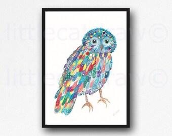 Owl Print Bird Print Rainbow Owl Watercolor Painting Print Wall Art Wall Decor Bird Decor Woodland Animal Owl Gift Home Decor