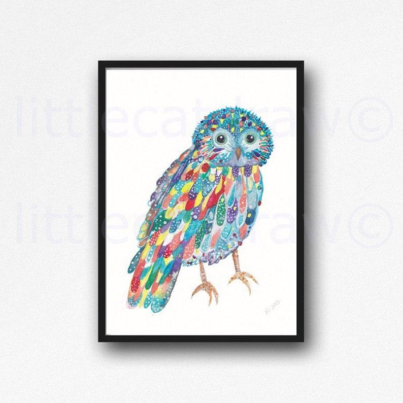 Owl Print Rainbow Owl Watercolor Painting Print Wall Art Wall image 0