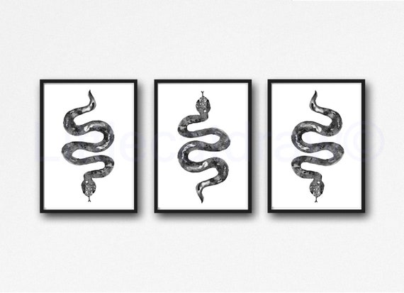 Snake Art Prints Set Of 3 Wall Decor Home Decor Watercolor Etsy