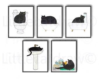 Cat Print Set Of 5 Bath Time Cats Watercolor Painting Print Wall Art Bathroom Decor Bathtub Wall Decor Art Print Cat Lover Gift Bathtime Cat
