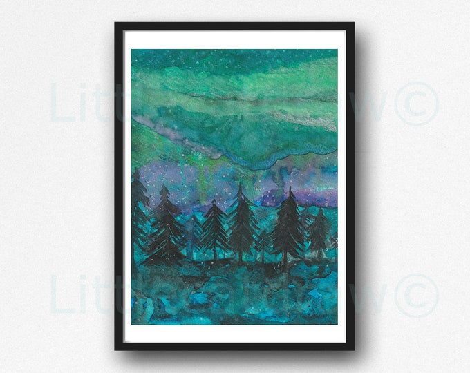 Landscape Print Aurora Borealis Forest Trees Watercolor Painting Print Forest Wall Art Print Landscape Sky Forest Home Decor Wall Decor