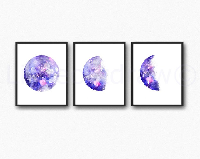 Moon Phase Print Set of 3 Watercolor Prints Luna Galaxy Decor Lunar Phases Moon Art Home Decor 3 Art Prints Wall Art Bedroom Wall Decor