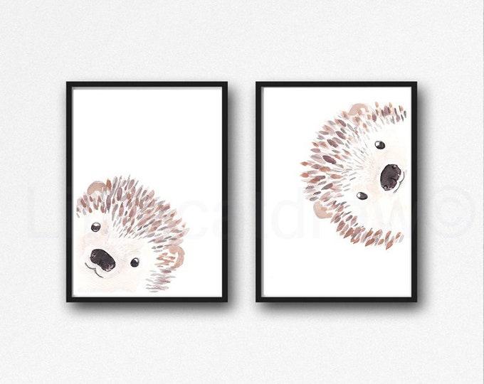 Hedgehog Print Set of 2 Prints Peekaboo Watercolor Painting Print Peekaboo Animals Wall Art Wall Decor Hedgehog Gift Art Prints Unframed