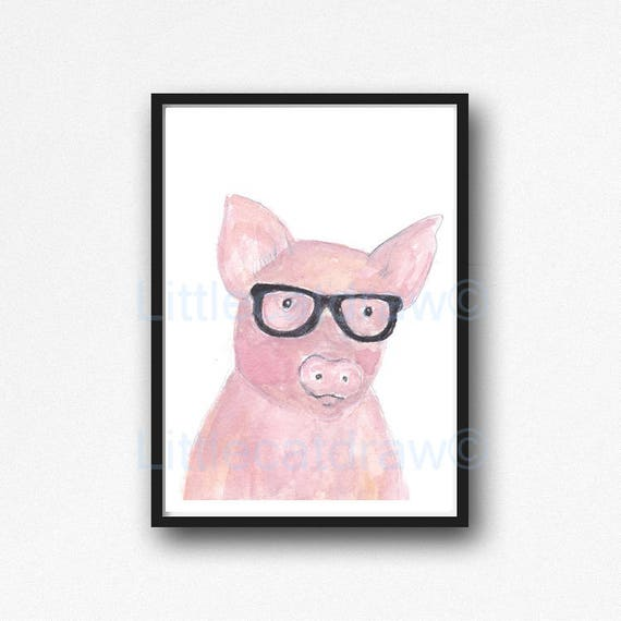 Pig Print Geek Pig Cool Nerd Wearing Glasses Pig Watercolor Etsy