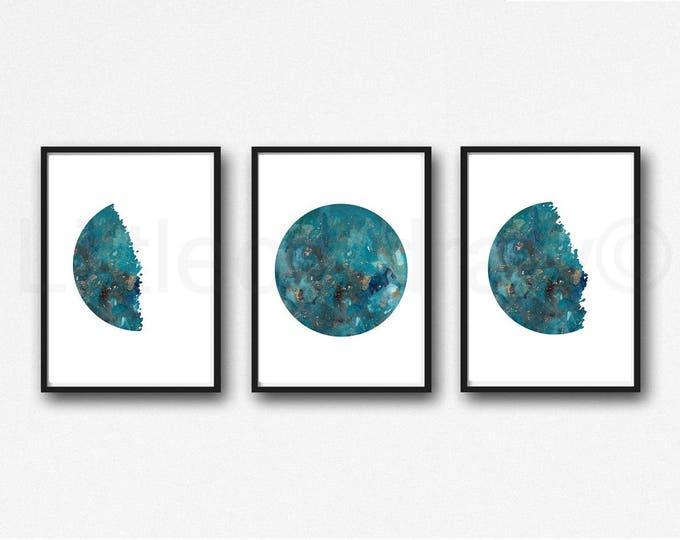 Moon Phases Print Set of 3 Teal Moons Watercolor Prints Celestial Bedroom Wall Decor Wall Art Lunar Phases Home Decor Moon Print
