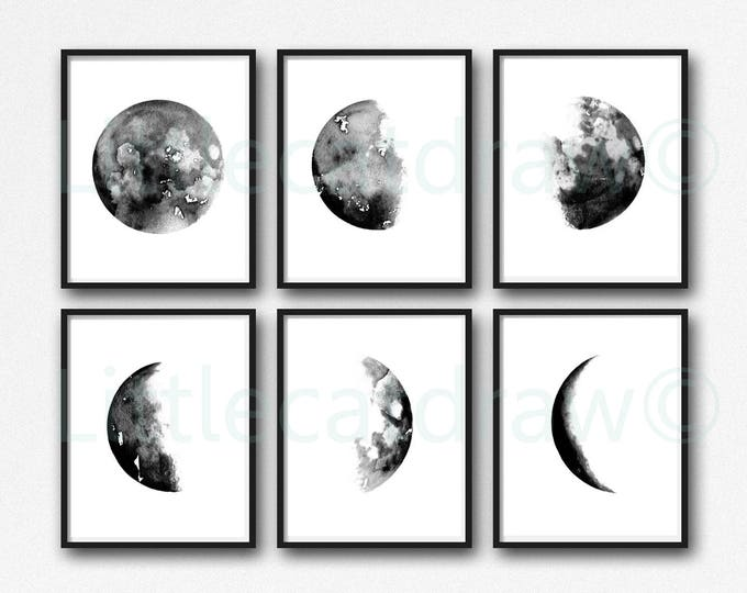Moon Print Set Of 6 Phases Decor Bedroom Watercolor Painting Print Celestial Print Luna Phases Home Decor Art Prints Moon Gift Wall Art