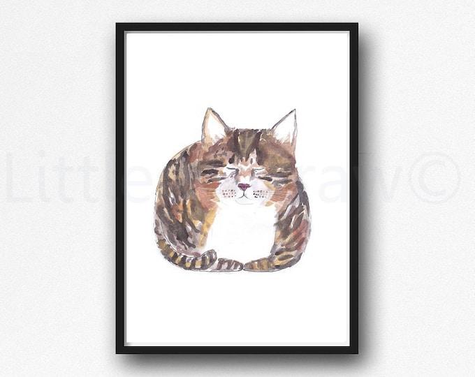 Cat Print Tabby Loaf Cat Watercolor Painting Print Kitten Tabby Cat Wall Art Cat Lover Gift Art Print Wall Decor Sleeping Tabby Cat