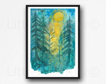 Firefly Print Fireflies In The Teal Forest Watercolor Painting Print Fireflies Wall Art Print Lightning Bug Home Decor Wall Decor
