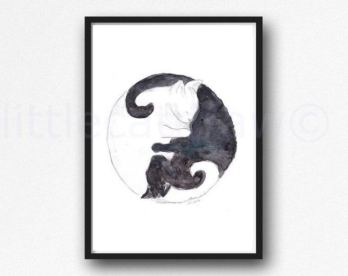 Yin Yang Cat Print Watercolor Painting Print Black and White Cats Wall Decor Cat Lover Gift Crazy Cat Lady Wall Art Ying Yang Print