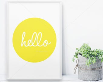 Hello Print || hello, yellow, hello sign, sunshine print, good morning print, greeting print, sunshine poster, yellow print, hello poster