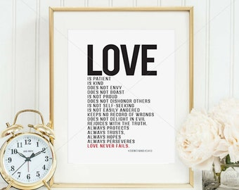 Love Is... || anniversary gift, 1 Corinthians 13, love is patient, love is kind , wedding print, wedding gift, 1 corinthians 13 art, love is