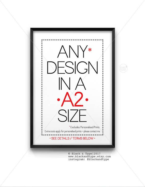 A2 Size Poster Large Wall Art Typography Print Industrial