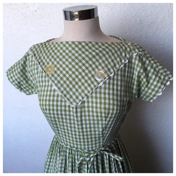 Bobbie Brooks Green Gingham Day Dress