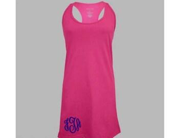 Monogrammed Women's Bathing Suit Cover-up / Cotton Dress - Size Medium - Fuschia Pink, Mint Green, Navy Blue