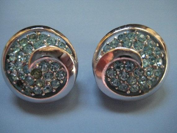 Vintage Crown Trifari Aquamarine Rhinestone Earri… - image 10