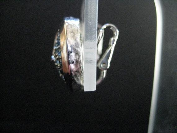 Vintage Crown Trifari Aquamarine Rhinestone Earri… - image 5