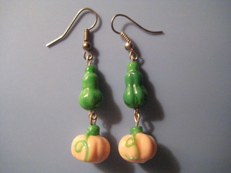Lampwork Pumpkin Earrings