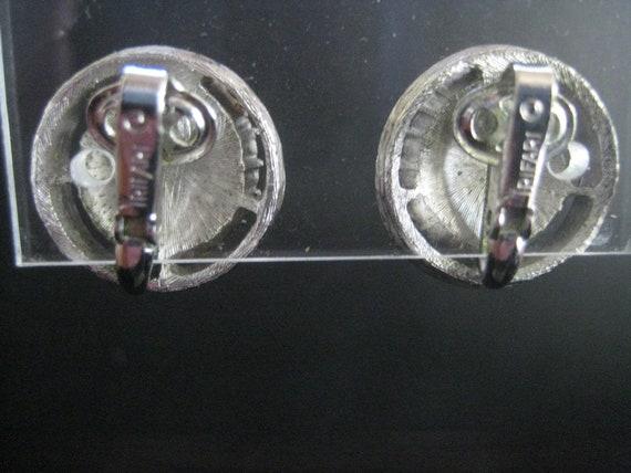 Vintage Crown Trifari Aquamarine Rhinestone Earri… - image 4