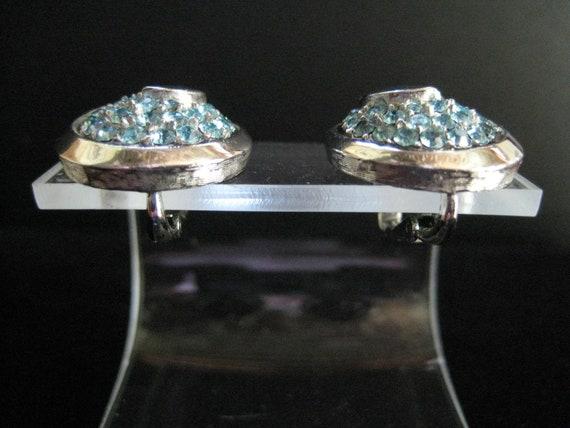 Vintage Crown Trifari Aquamarine Rhinestone Earri… - image 7