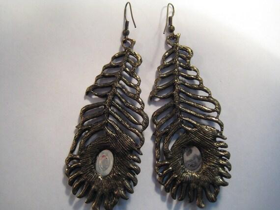 XL large earrings Semicircle earrings Fan Tassel earrings with peacock feather accent Statement earrings Unique gifts Fringe earrings