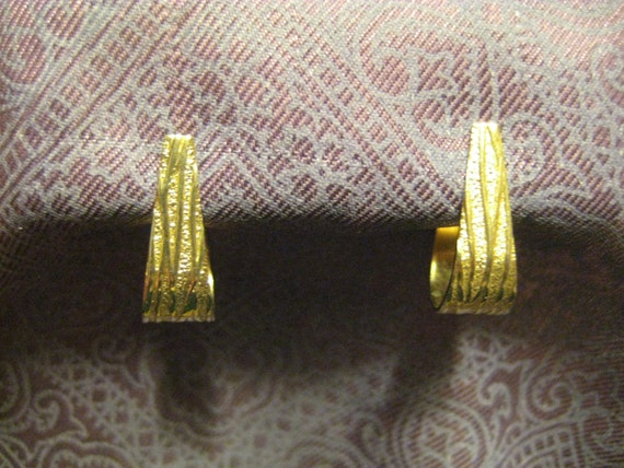 Vintage Textured Brass Half Hoop Earrings
