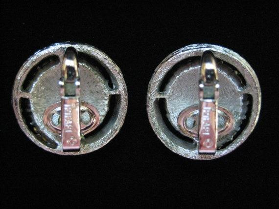 Vintage Crown Trifari Aquamarine Rhinestone Earri… - image 8