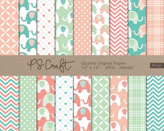 "Elephant Digital Papers, SEAMLESS ""Baby Coral & Mint"" Elephant Background, Baby Shower Paper Pack, Coral and Mint Invitation"