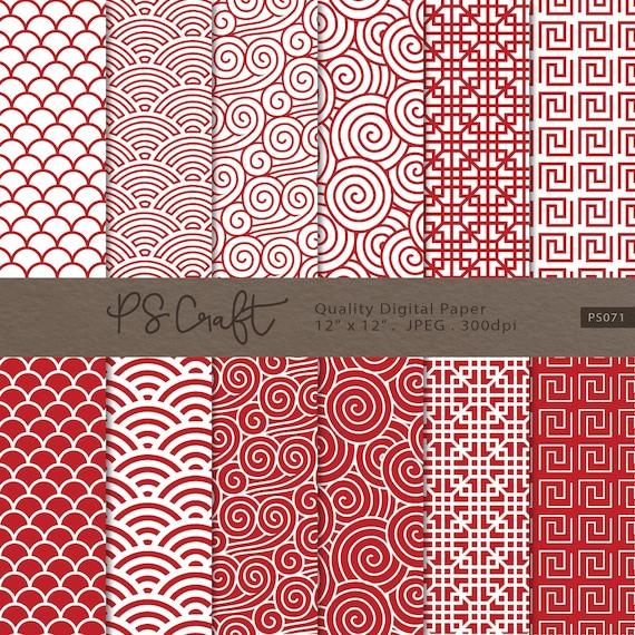 Chinesische rote Muster Papier asiatischen rot digitales | Etsy