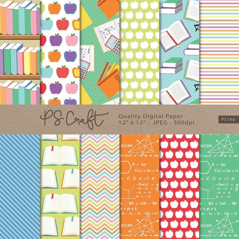 Teachers Digital Papers SEAMLESS Back to School Background | Etsy