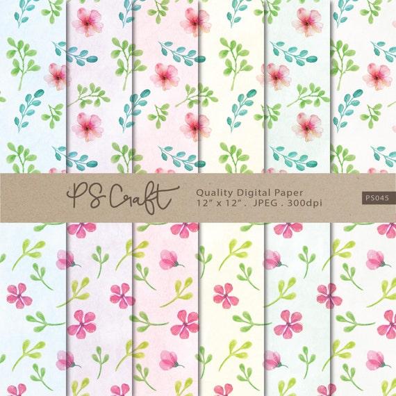 Watercolor flowers paper floral digital paper flower etsy image 0 mightylinksfo