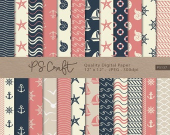 Nautical digital papers, Seamless Ocean Digital Paper, Navy Blue and Coral NAUTICAL Patterns, Sea Background