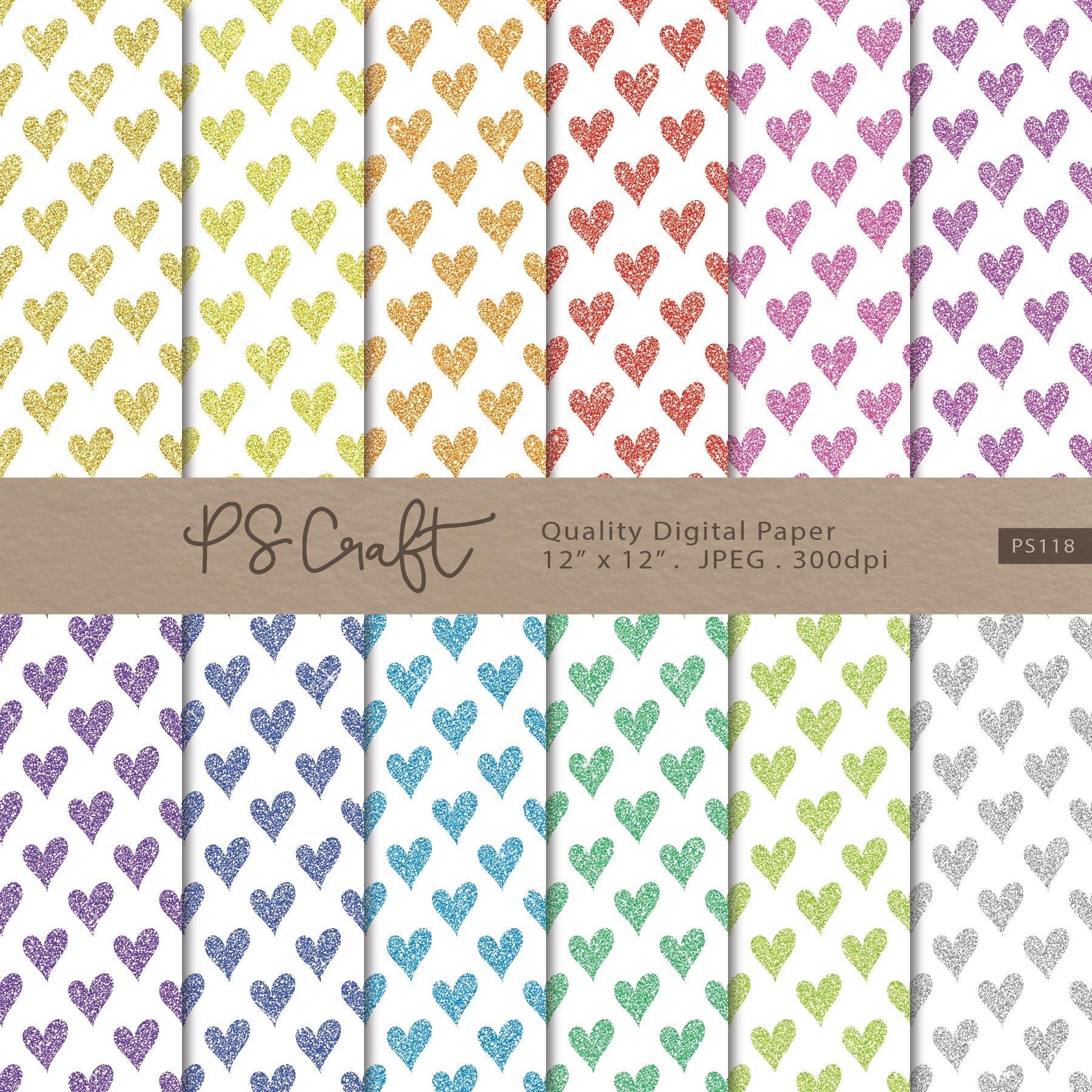 Glitter Heart Digital Paper Pack SEAMLESS Glitter Hearts
