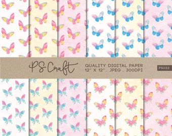 Watercolor Butterfly Digital Papers, Butterflies Digital Paper, Butterfly Texture, Watercolor Papers