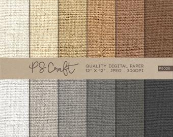 Burlap Digital Papers, Natural Burlap Pattern,  Fabric Papers