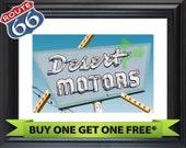 BUY 1 GET 1 FREE - Neon Sign quot Route 66 Desert Motors (Victorville, California) quot Fine Art Photograph - Retro Vintage Wall Art