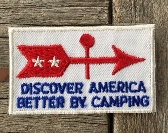 Discover America Better By Camping Vintage Travel Patch by Voyager