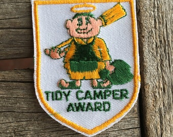 Tidy Camper Award Vintage Camping Souvenir Patch by Voyager. New in Original Package