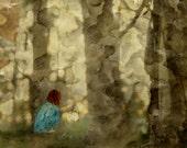 Lantern in the Woods - Mixed Media Watercolour Wall Art Print