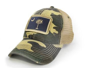 4df6a33485403 South Carolina Flag Patch Trucker Hat