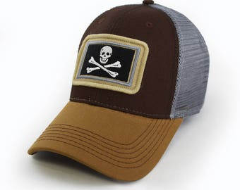 702ce43ef940f0 Calico Jack's Jolly Rodger Pirate Flag Trucker Hat, Structured, Brown