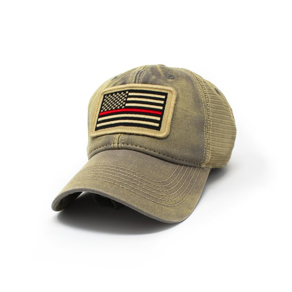 FREE SHIPPING California Thin Red Line Flag Patch Structured Camo Trucker Cap
