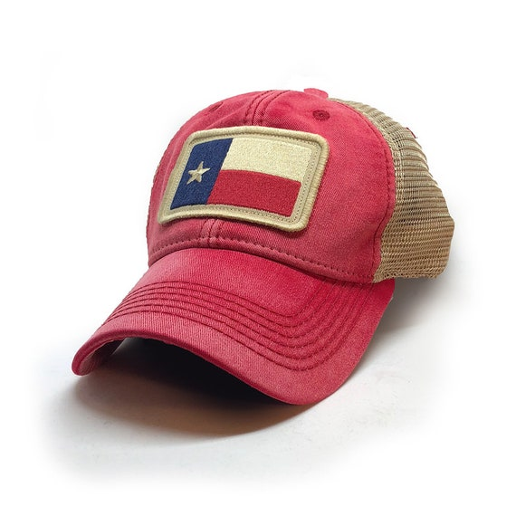 Texas Flag Patch Trucker Hat Nautical Red  0dbf79566fa