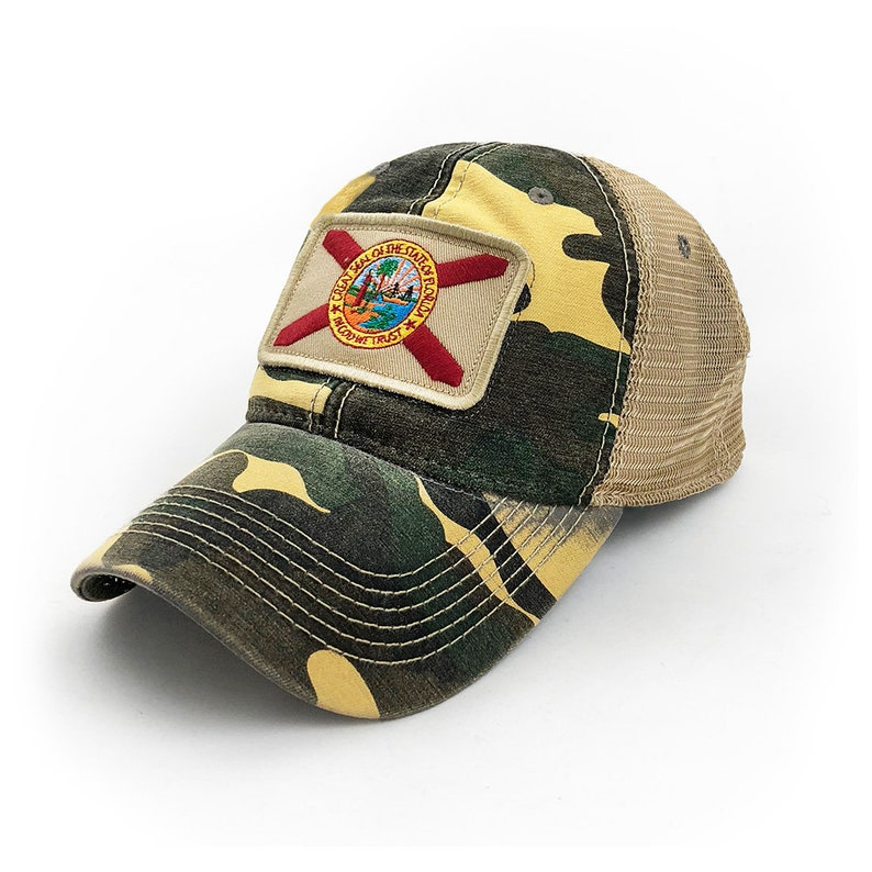 10d0b3f096d3a Florida Flag Patch Trucker Hat Woodland Camouflage