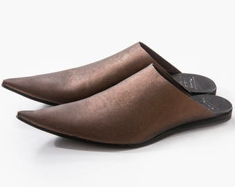 Sale, Pointy Toe, Leather Mules, Leather Slip-On, Babouches, Open Back Shoes, Pointy Mules, Leather Slip-On, Summer Shoes, UnaUna, Slide