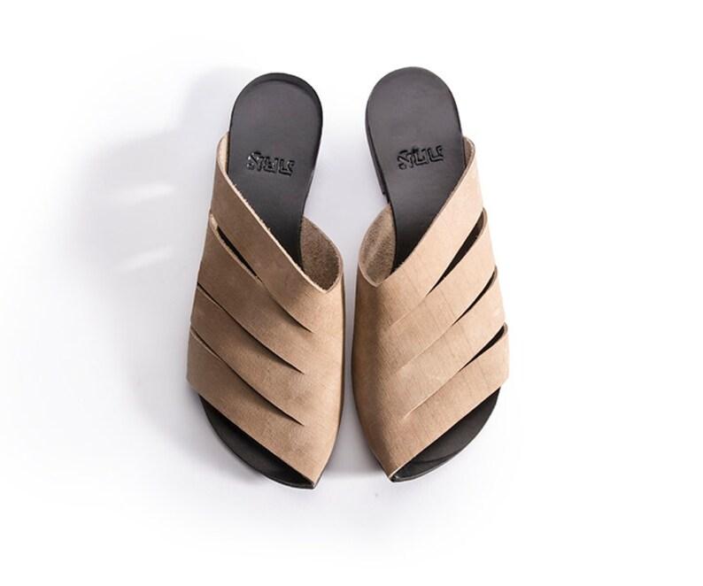 503c27a4b8f6d Sale, Mules Shoes Woman, Brown, Black Leather Sandals, Handmade Sandals,  Summer Flats, Black Slide Sandals, Slip On Sandals, Black Sandals,